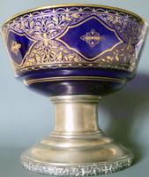 Antik BACHRUCH A.SUCC agárfejes ezüst talpas kobaltkék  dísztárgy aranyozott üveg kínáló asztalközép