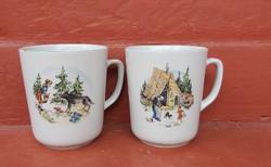 Zsolnay figurás, Jancsi és Juliska, Piroska és a Farkas mesefigurás bögrék, bögre,Gyűjtői darabok.