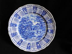 Alfred Meakin jelenetes tányér 1973-as naptárral, házi áldással