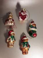 Karácsonyfa üveg dísz öt darab dobozában házikó és különböző maci