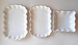 Régi fehér szecessziós porcelán Geschützt szögletes kínáló tál tálca 3 db
