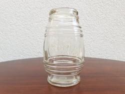 Régi mustáros üveg csíkos palack 10 cm