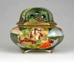 1C365 Antik jelzett Japán SATSUMA porcelán szelence