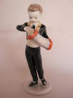 Hollóházi porcelán harmonikás fiú