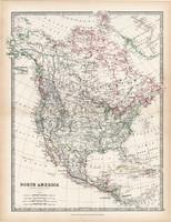 Észak - Amerika térkép 1883, eredeti, atlasz, Keith Johnston, angol, 36 x 47 cm, Kanada, USA, Mexikó