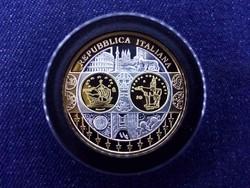 Euróövezet országainak közös valutája Olaszország aranyozott emlékérem PP (id11900)