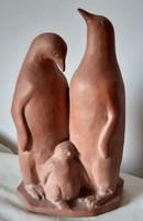 Gádi Lajos: Pingvin család szobor, 21 cm