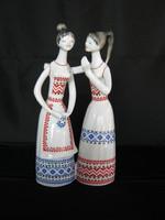 Hollóházi porcelán beszélgető pletykázó lányok
