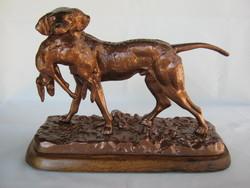 Kutya vadászkutya nagy méretű fém szobor