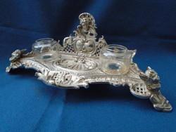 Antik agyalkás  kalamáris asztali készlet skandináv királyi jelzéssel kuriózum még a kalamárisok köz