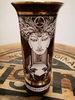 Ritka gyűjtői Hollóházi Szász Endre GRAND PRIX  limitált  BARNA porcelán váza