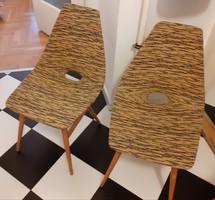 RETRO Erika fotelszék 2 db egyben (szék pár) eredeti fekete sárga huzat, ép, stabil állapotban.