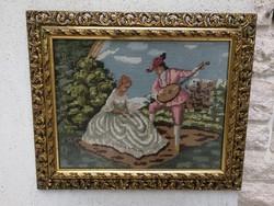 Fa keret aranyozott keretben gobelin, gyüjteménybe ajándéknak kiváló Mutatós ! Képkeret florentin