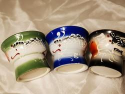 Különleges, vintage japán, kézi email festésű szakés poharak, erotikus képekkel, nagyítóval