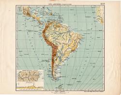 Dél - Amerika hegy- és vízrajzi térkép 1913, Amerika, Andok, eredeti, régi, Tűzföld, Kogutowicz Manó