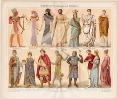 Divat, öltözködés, ruha, litográfia 1888, eredeti, német, ókor, középkor, öltözet, viselet, kosztüm