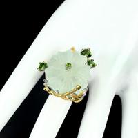 Egyedi faragót virág Prehnite 24 mm-es króm Diopside 925 ezüst gyűrű