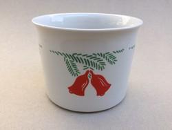 Retro Zsolnay porcelán karácsonyi kaspó virágtartó