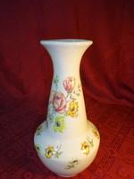 Kőbányai magyar  porcelán, rózsa mintás váza, magassága 26,5 cm.