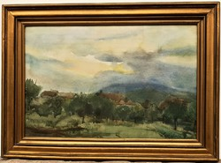 Sajó Gyula (1918-1989) Táj eső után c. Képcsarnokos festménye EREDETI GARANCIÁVAL !