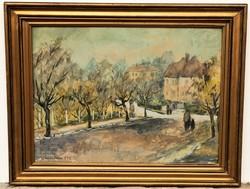 Luzsicza Lajos (1920 - 2005) Utcarészlet c. Képcsarnokos festménye EREDETI GARANCIÁVAL !