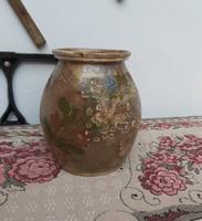19.5 cm magas régi  kerámia  virágos szilke, köcsög, korsó, nosztalgia, paraszti dekoráció