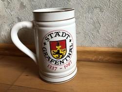 Wagner & Apel Stadt Gräfenthal 1337 -1987 címeres / látképes kerámia sörös korsó  18.