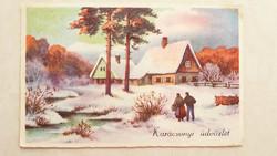 Régi karácsonyi képeslap 1941 vidéki tájképes levelezőlap