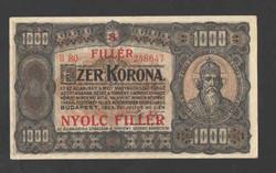 """1000 korona 1923.  """"8 FILLÉR"""" Fb.!!   Egyszer hajtott!!  RITKA!!"""