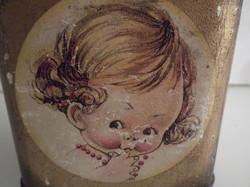 Fém - FRANCK KÁVÉS doboz -  kb. 100 éves - 10 x 9 x 9 cm - ritka - FESTÉK KOPÁSOK - NEM LYUKAS