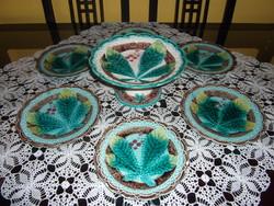 Antik Hornberg majolika süteményes készlet