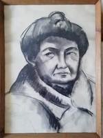 Angyalföldi Szabó Zoltán - portré üvegezett, eredeti keretében, szignózott, hibátlan 86 cm