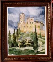 L.M.: Vár a dombtetőn - akvarell antik keretben