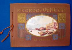 """Szecessziós """"Velencei emlék"""" lapozgatós képeslap album (1800-as évek vége)"""