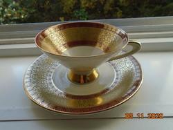 Gazdag Aranybrokát bordó mintás teás csésze alátéttel
