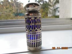 Angol védett PAT NO 101413 filigrán áttört ezüstözött só bors szóró jelzett kobalt üveg betéttel