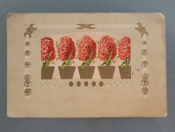 Régi képeslap 1916 K.u.K. bélyegzős virágos levelezőlap