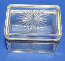 Angol ezüst, üveg doboz