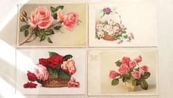 Régi rózsás virágos képeslap 1940 körül 4 db
