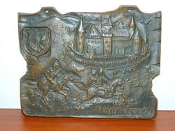 Régi szignózott Nagyvázsony címeres bronz plakett
