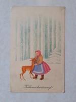 Régi karácsonyi képeslap 1957 őzikés levelezőlap