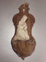 Antik biszkvit porcelán jelzett fali dísz szenteltvíz tartó