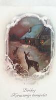 Régi karácsonyi képeslap 1928 őzikés levelezőlap