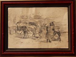 Egerváry Potemkin Ágost (1858 - 1930): Piaci jelenetek - kétoldalas 19. századi rajz