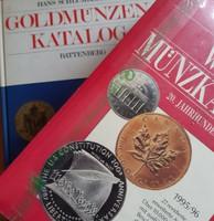 Fémpénz katalógusok, világ + Európa arany, 1300+480 oldal, 3 kg