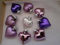 Szép üveg szív alakú karácsonyfadísz 9-darab