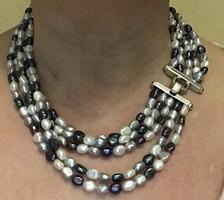 Mesés három színű tenyesztett gyöngy szett ezüst szerelékkel!!