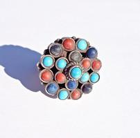Sok színes köves 925-ös gyűrű