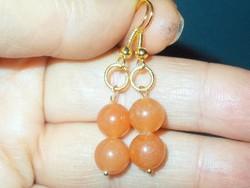 Narancs Korall ásvány Gyöngy kézműves Aranyozott Fülbevaló