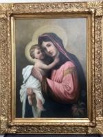 Mária a kisdeddel- GYÖNYÖRŰ Olaj-vászon festmény a 19.sz -ból